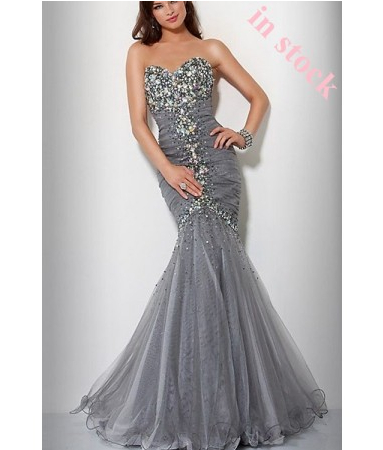 Mermaid Floor-length Organza Sweetheart Beading Silver Evening Gowns