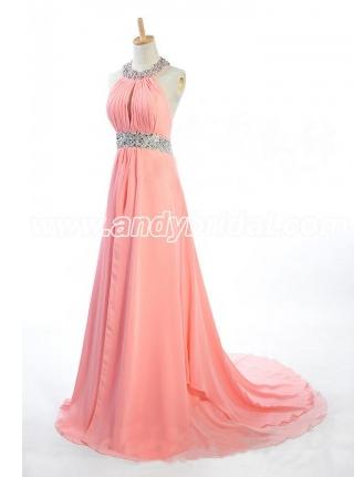 A-line Floor Length Chiffon Halter Rhinestone Prom Dress