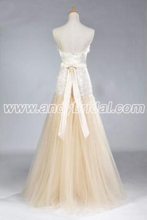 A-line Floor Length Organza Sweetheart Beaded Prom Dress