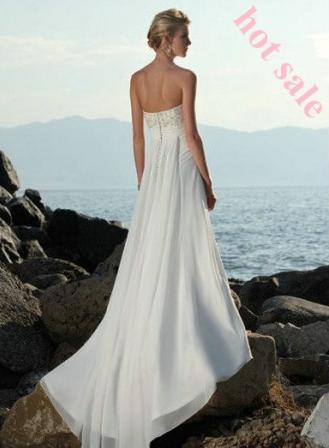 A-line Floor-length Chiffon Strapless Discount Bridal Gowns Beach Wedding Dress