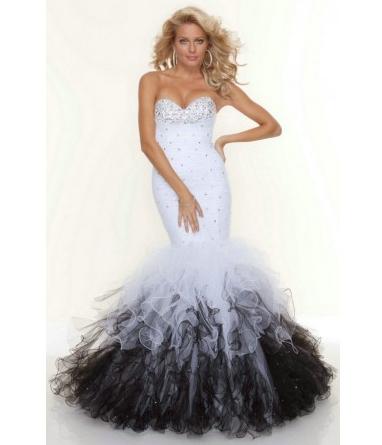 Mermaid Sweetheart Beaded Organza Ruffles Floor Length Evening&Prom Dresses Custom Made