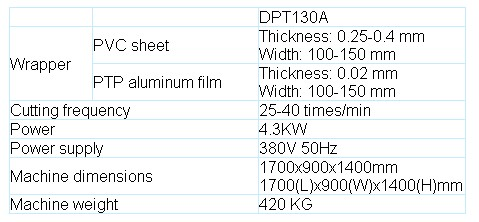 DPT-130A Blister packing machine parameter